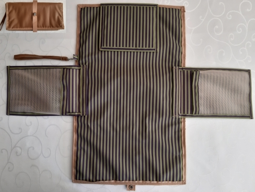 Brown vinyl with purple and green stripe design waterproof canvas.