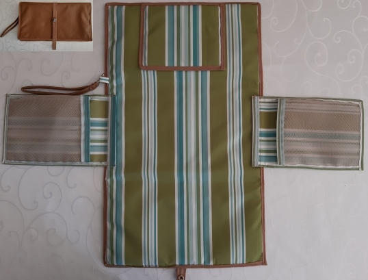 Brown vinyl with green and blue stripe design waterproof canvas.