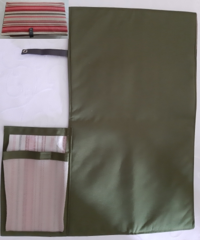 Pink stripe design cotton canvas with olive green waterproof canvas