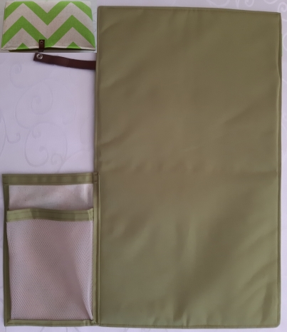 Green zig-zag design cotton canvas with beige waterproof canvas